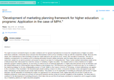 Master's Thesis Development of marketing planning framework for higher education programs: Application in the case of MPH